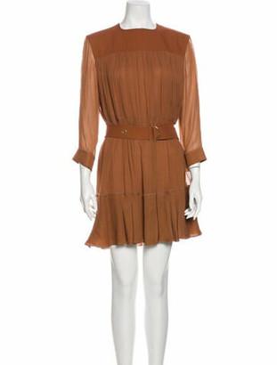 Chloé Crew Neck Mini Dress Brown
