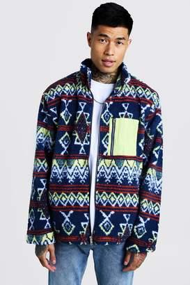 boohoo Borg Collar Jacket In Aztec Pattern