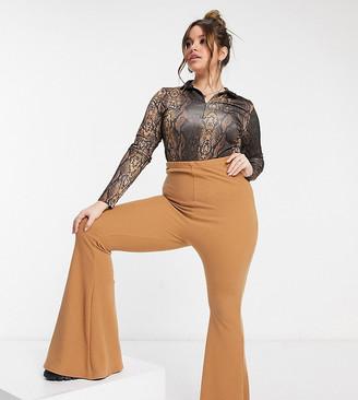 Fashionkilla Plus flare pants co-ord in tan