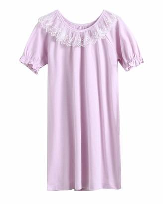 Guiran Girls Nighties Lace Princess Nightgowns Short Sleeve Round Neck Nightdresses Long T Shirts Sleepwear Loungewear Homewear Purple 140CM