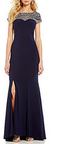 Lasting Moments Beaded Matte Jersey Cap-Sleeve Gown