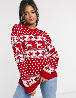 I SAW IT FIRST Fair Isle Christmas jumper in red