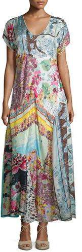 Johnny Was Printed Georgette Maxi Dress