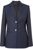Versace Striped Wool-twill Blazer - Navy