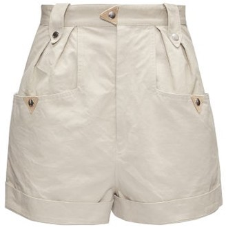 Etoile Isabel Marant Palino Pleated-front High-rise Cotton Shorts - Beige