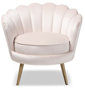 Mercer41 Cutshaw Glam and Luxe Velvet Fabric Upholstered Armchair Upholstery Color: Light Beige