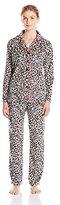 Ellen Tracy Women's Long Sleeve Sueded Micro Fleece Pajama Set