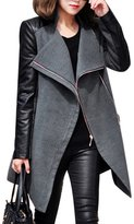 HOLDWELL's Women's Faux Leather Patchwork Long Sleeve Pea Coat Color Size L