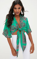 PrettyLittleThing Blue Silky Paisley Flare Sleeve Tie Front Blouse