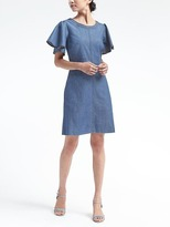 Banana Republic Flutter-Sleeve Denim Fit-and-Flare Dress