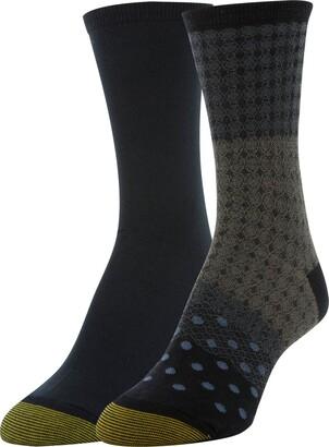 Gold Toe Women's Little Black Chainlink & Flat Knit Crew Socks 2 Pairs Shoe Size: 6-9