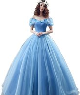 Engerla Women's Off-the-Shoulder Organza Cosplay Princess Prom Quinceanera Dress
