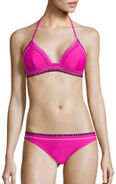 Design Lab Lord & Taylor Tri-Tone Stitched Triangle Bikini Top
