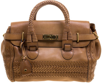Gucci Brown Leather Medium Handmade Top Handle Satchel