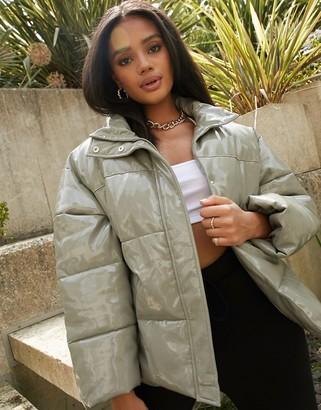 ASOS DESIGN vinyl puffer jacket in sage