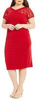London Times Plus Lace Tiered Midi Dress
