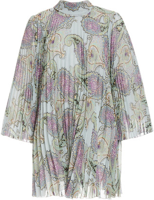 Etro Patterned Plisse-Georgette Mini Dress