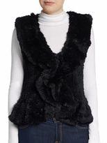 Saks Fifth Avenue Knitted Rabbit Fur Vest