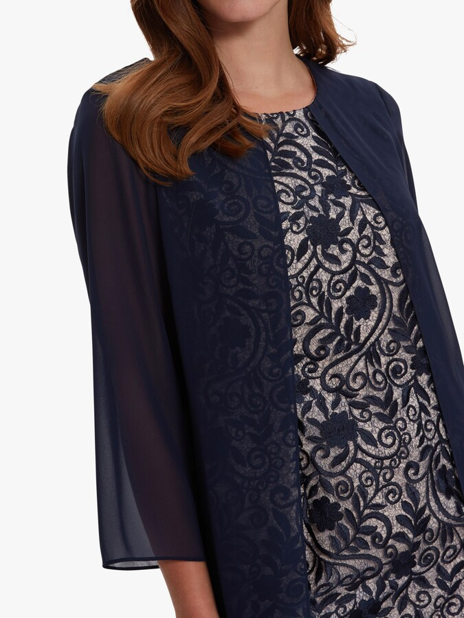 Thumbnail for your product : Gina Bacconi Lorca Lace Chiffon Dress, Navy/Antique Rose