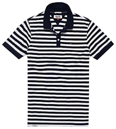 Hilfiger Denim Stripe Cotton Polo Shirt, Black Iris