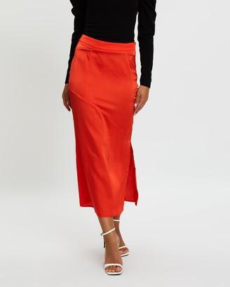 Missguided Satin Bias Cut Midi Slip Skirt