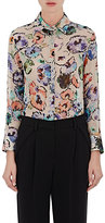 Giorgio Armani Women's Watercolor-Flower-Print Georgette Blouse-WHITE