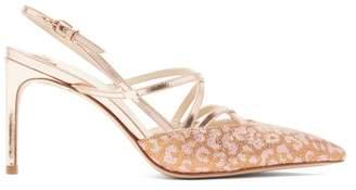 Sophia Webster Odette Leopard Jacquard Mirrored Leather Sandals - Womens - Gold Multi