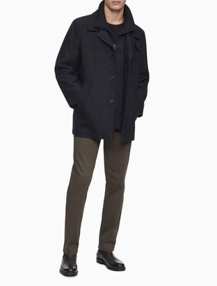 Calvin Klein Herringbone Wool Blend Zip Overcoat