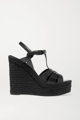 Saint Laurent Tribute Leather Espadrille Wedge Sandals - Black