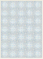 Jonathan Adler Light Blue Greek Key Peruvian Llama Flat Weave Rug