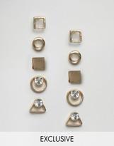 Monki Gold Shape Multi Pack Earrings