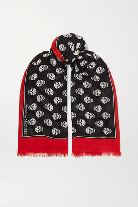Alexander McQueen Frayed Printed Modal Scarf