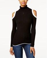 XOXO Juniors' Cold-Shoulder Turtleneck Sweater