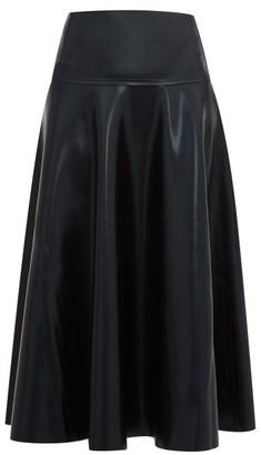 Norma Kamali Flared Coated-jersey Midi Skirt - Black