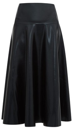 Norma Kamali Flared Coated-jersey Midi Skirt - Womens - Black