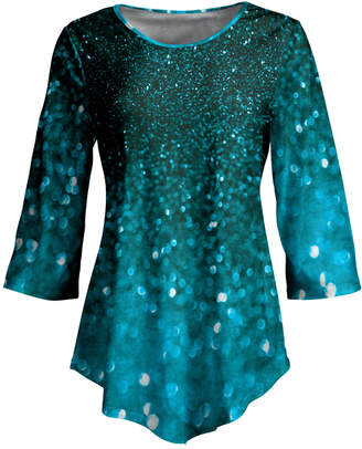 Lily Women's Tunics GRN - Green & Turquoise Abstract Three-Quarter Sleeve Curved-Hem Tunic - Women & Plus