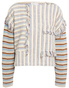 3.1 Phillip Lim Fringe-trimmed Striped Boucle And Cotton-blend Top