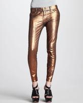 Current/Elliott The Stiletto Bronze Coated Foil Jeans