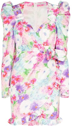 Alessandra Rich Floral-Print Silk Mini Dress