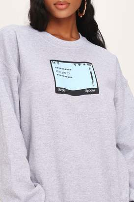 I SAW IT FIRST Grey Marl Text Message Oversized Crew Neck Sweatshirt