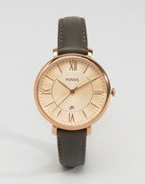 Fossil Gray Leather Jacqueline Watch ES3707