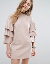 Pull&Bear Ruffle Sleeve Sweat Dress