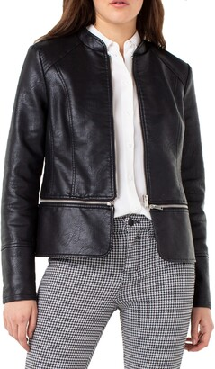 Liverpool Jeans Co Faux Leather Zip-Off Moto Jacket