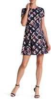 Eliza J Print Ponte Fit & Flare Dress