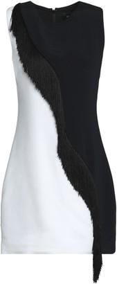 Cushnie Nisa Fringe-trimmed Two-tone Stretch-crepe Mini Dress