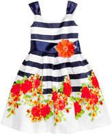 Bonnie Jean Striped Floral-Print Shantung Dress, Toddler Girls