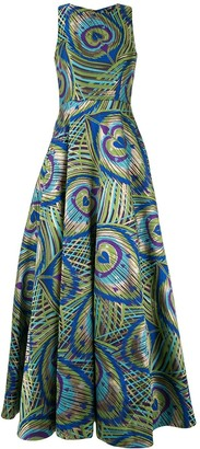 Manish Arora Peacock Print Full Gown