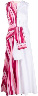Marni Pink And White Tied Shirt Dress