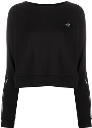 Philipp Plein Long Sleeve Crystal-Embellished Knit Top
