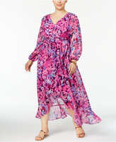 Sangria Plus Size Printed Maxi Dress